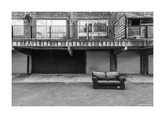 No Parking the Sofa © (wpnewington) Tags: socialhousing dumpedsofa noparking sofa abandoned bw london monochrome