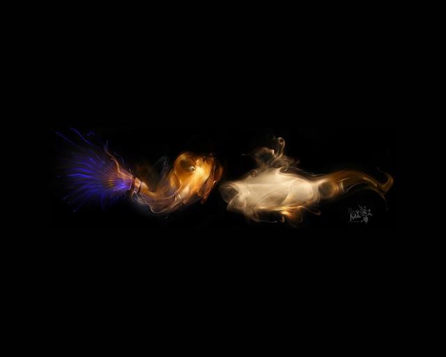 Обои дым, темный, фон, свет, фигурка картинки на рабочий стол, фото скачать бесплатно