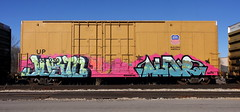 Justo/Aunr (quiet-silence) Tags: graffiti graff freight fr8 train railroad railcar art justo aunr kys kfc zee boxcar up unionpacific flat up355250