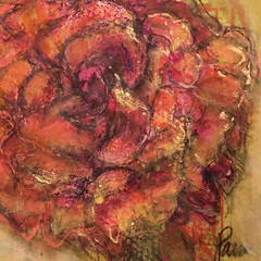 Abstract rose by Jan Paron, 2019; acrylic, charcoal, chalk pastel, and oil pastel #flowers #abstractflower #petelsandportrait (drjparon) Tags: flowers abstractflower petelsandportrait