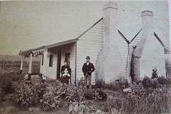 Family of three at their home somewhere in Victoria, Australia - circa 1900 (Aussie~mobs) Tags: clarkbros windsor victoria australia vintage house home residence bush chimney family domesticlife 1900