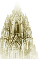 Kölner-Dom-17 (A. Gosewehr) Tags: dom köln cologne cathedral bw sw highkey stone sculpture annegosewehr