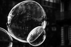 Parallel world (tofbruno) Tags: bw blackandwhite monochrome bubble bulle savon pentax paris hoteldeville soap