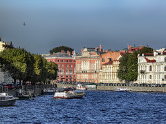 Venice of the North: St. Petersburg, Russia (janepesle) Tags: russia saintpetersburg architecture travel water river canal building outdoors city cityscape embankment trees boat санктпетербург пейзаж