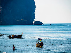 Ao Nang 4 (deepaqua) Tags: beach ocean andamansea krabiprovince island indianocean aonang boat cliff thailand