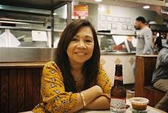 Leah (poavsek) Tags: portrait beer kodak leica film minilux smile food restaurant mexican portra400