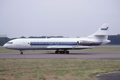 SE-DEC Stansted 13-7-1986 (Plane Buddy) Tags: sedec sud caravelle transwede bergenaviation stn stansted