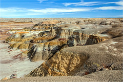 Badlands (Sandra Lipproß) Tags: ahshislepah badlands desert desertscape newmexico usa southwest landscape outdoors nature yellow clay blue sky outside