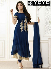 Embroidered Blue & Beige #AnarkaliSuit Online On #YOYOFashion. (yoyo_fashion) Tags: style fashion dresses suits shopping offers womenwear eidspecialdress bluedress