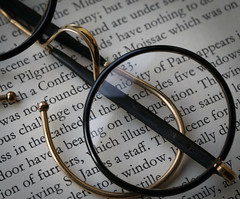 reading and collecting (Patrick JC) Tags: macromondays hobby specs glasses book 2019 words vintage old antique wire retro