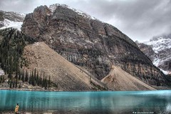 Landslides at Moraine Lake in the Canadian Rocky Mountains (PhotosToArtByMike) Tags: morainelake banff banffnationalpark valleyofthetenpeaks canadianrockies albertacanada mountain mountains emeraldlake tenpeaks bluegreen turquoisecoloredwater