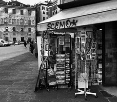 """The Newsstand"" (giannipaoloziliani) Tags: written window downtown city cartoline papers books flickr piazza lightandshadow liguria fontanemarose place angle view monochrome monocromatico blackandwhite biancoenero genoa genova streetphotography nikonphotography nikoncamera nikon newsstand"