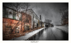 Desolation (Pearce Levrais Photography) Tags: urban industry hdr canon outside outdoor city road snow wet darkart urbex tree plant desolate landscape