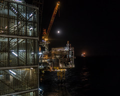 Moon Over Oil Rigs (Craig Hannah) Tags: oilrig platform offshore northsea moon night nightsky industry industrial march 2019 rig craighannah scotland uk sea lights work canon photography