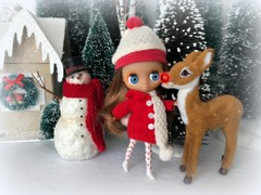Santa will need you tonight! (Foxy Belle) Tags: doll blythe pet shop littlest petite christmas winter rudolph red nose reindeer snowman hat coat scarf trees woods glitter diorama 112 scale ornament holiday bottle brush day december 2018 cold weather cute