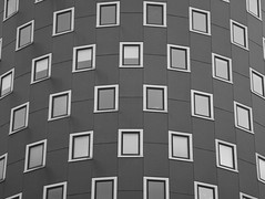 Wohnpark Donau City (RobertLx) Tags: geometric symmetry monochrome window round tower building architecture wien vienna austria donaucity city lines bw europe österreich modern contemporary travel