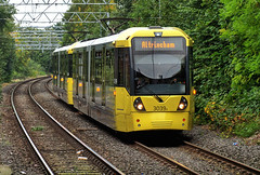 """Manchester Metrolink Bombardier """"Flexity Swift"""" M-5000 type No.3039A approaches Sale on 5 Oct 2018 (Trains and trams eveywhere) Tags: manchester metrolink tram localtransport electric flexityswift m5000 bombardier sale"""