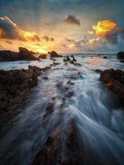 Portwrinkle Aurora (Timothy Gilbert) Tags: sunrise lumix boulders rocks panasonic1235mmf28x beach gx8 clouds m43 microfourthirds coast microfournerds portwrinkle wideangle cornwall whitsandbay panasonic