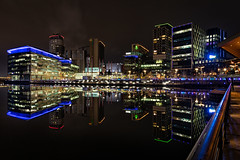 Media City Reflections (gmorriswk) Tags: salford england unitedkingdom gb quays reflections reflection long exposure bbc itv holiday inn media city night