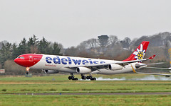 edelweiss air a340-313 hb-jmd diverting to shannon for fuel while routing san jose to zurich 16/2/19. (FQ350BB (brian buckley)) Tags: edelweissair a340313 hbjmd einn diversion fuelstop