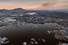 Frozen Sunset (M@ H) Tags: arizona clouds dji granite granitemountain lake prescott snow sunset water watsonlake willowlake winter winterstorm dells drone landscape reflection