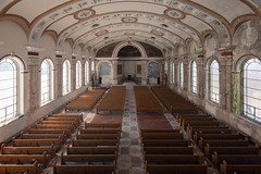 ...hallowed halls... (Art in Entropy) Tags: abandoned church urbex urban decay explore exploration grime creepy photogrpahy light sony adventure room hall pew chapel architecture history