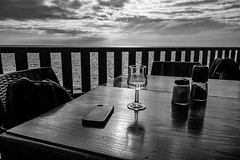 sunset (Cornelia Pithart) Tags: smartphone blackandwhite blackwhite canaries canaryislands canaryisles chair cloudsky clouds glass horiizonoverwater horizon nature ocean pepper salt sea sky spain stilllife sunset table tranquilscene water