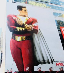 Shazam The Big Red Cheese Billboard 42nd St NYC 3647 (Brechtbug) Tags: shazam billboard 42nd street new captain marvel the big red cheese poster ad nyc 2019 times square movie billboards york city work working worker paint painting advertisement dc comic comics hero superhero alien dark knight bat adventure national periodicals publication book character near broadway shield s insignia blue forty second st fortysecond 03122019 lightning flight flying march