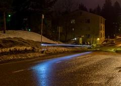 Very long exposure shot from biker. (Antabus-Antti) Tags: night espoo finland light art suomi snow