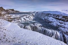 Gullfoss 1 (lycheng99) Tags: gullfoss waterfall foss iceland snow winter landscape nature travel explore mountains sunny sky people energy power longexposure water flow clouds blue bluesky