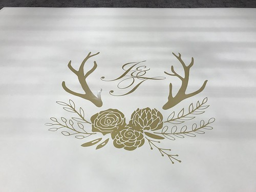 """White Vinyl Wrapped Dance Floor with Gold Monogram • <a style=""""font-size:0.8em;"""" href=""""http://www.flickr.com/photos/81396050@N06/46549444425/"""" target=""""_blank"""">View on Flickr</a>"""