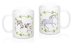 Leaf Frame Horse Mug (FriendlyHollow) Tags: horsemug animalmug coffeecup prettyteamug handdrawn coloredpencil horselovermug ponymug floraldesign vines leaf frame ceramic handmade