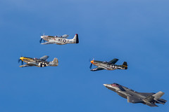 4 Ship Flight (gilamonster8) Tags: stelth eosef400mmf56lusm wwii aircraft northamericanp51mustang dmafb lockheedmartinf35lightningii airshow fighterplane wing wingman fly canon formationflying flickr airforce fighter f35 blue usaf 7dmarkii flight plane p51 jet warbirds sky arizona eos planes 2019heritageflighttraining tucson unitedstatesofamerica us weewillieii baldeagle bumsteer