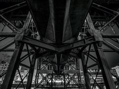 "4.2.2019 Under the ""bridge under the bridge"" (Kristine Runner) Tags: night marsupialbridge milwaukeeriver blackandwhite eastside"