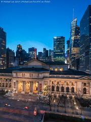 NYPL and Skyline (20190309-DSC07201) (Michael.Lee.Pics.NYC) Tags: newyork nypl newyorkpubliclibrary fifthavenue sixthavenue night twilight bluehour architecture cityscape sony a7rm2 voigtlanderheliar15mmf45