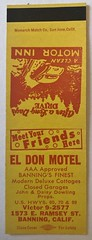 EL DON MOTEL BANNING CALIF (ussiwojima) Tags: eldonmotel motel banning california advertising matchbook matchcover