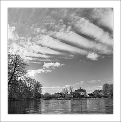 analog Hasselblad 500 C/M with Zeiss Distagon 3.5/60mm, red filter R 25A, Rollei Superpan 200 (Dierk Topp) Tags: 6x6 bw himmel r25a rodinal rolleisuperpan200 zeissdistagon3560mm analog clouds hasselblad500cm herrenteich monochrom redfilter reinfeld sw trees wolken