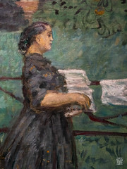 Le Grand Jardin (detail) (sylvain.collet) Tags: france femme profil art jardin lesnabis visage enclos linge peinture