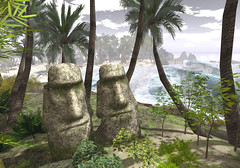 Drink for Me (Shay/ Shaterica Wulluf) Tags: beach head plam trees palm ocean water surf waves twins land secondlife landscape