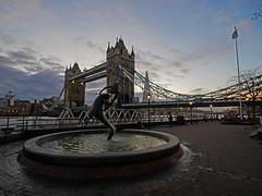 Girl with Dolphin (Matt C68) Tags: london city bridge towerbridge water sky thames river riverthames architecture statue sculpture fountain girlwithdolphin david wynnes girl with dolphin tower background