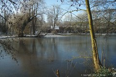 Sunny Snowy Village (Spotmatix) Tags: 1935mm a7 belgium brabantwallon camera countryside landscape lens places pond sncb seasons snow sony sunny trains transports villerslaville water winter zoomwide