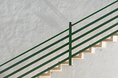 Stairway with green handrails (Jan van der Wolf) Tags: map150222v steps treden trap stairs staircase stairway handrails leuning green groen lines lijnen wall muur