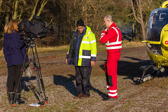36 Setting up John's interview, Scone (wwshack) Tags: airbushelicopters ec135 egpt eurocopter psl perth perthairport perthshire scaa stv scone sconeairport scotland scotlandscharityairambulance helicopter photoshoot