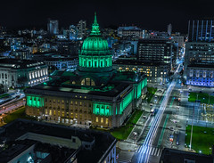 city hall illuminated in green (pbo31) Tags: bayarea california nikon d810 color february 2019 boury pbo31 sanfrancisco city urban night dark black civiccenter patrix siemer foxplaza over lightstream motion traffic roadway panoramic large stitched panorama polk street cityhall green rooftops