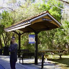 Palmers Ranch Station (soniaadammurray - On & Off) Tags: digitalphotograhy trees station benches woman people sign trail legacytrail sarasota florida usa bench benchmonday happybenchmonday artchallenge nature