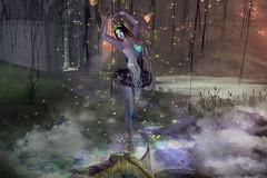 Dancing into the Mist (LiangScorpio) Tags: secondlife sl fireflies fog dance ballet poem lyrics