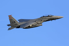 F-15E Strike Eagle (Dean West) Tags: usaf usafe unitedstatesairforce unitedstatesairforceeurope lakenheath raf royalairforce f15 jet aircraft aviation bluesky heritagef15 48fw 48thfighterwing mcdonnelldouglas f15e eagle