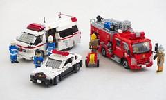 Tokyo emergency vehicles (Mad physicist) Tags: lego japan ambulance police car tokyo fireengine mazda toyota isuzu 122 model