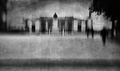 City of lost souls (Lucretia My Reflection) Tags: lensbaby sweet50 tiltlens selectivefocus blur bokeh seeinanewway street streetphotography shadow shades texture city cityscape blackandwhite bw surreal surrealphoto haunting creepy lucca icm intensionalcameramovement movement cameramovement