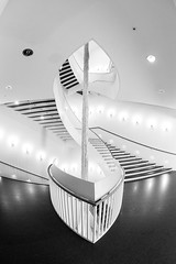 Lotus Stairway (Karen_Chappell) Tags: bw travel chicago gallery museum art blackandwhite white stairs staircase steps abstract architecture building interior usa illinois lights shape curve curves railing oval wideangle fisheye canonef815mmf4lfisheyeusm geometry geometric